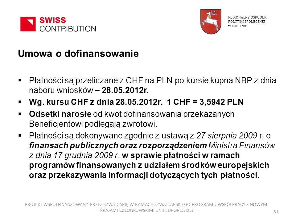 Umowa o dofinansowanie Płatności są przeliczane z CHF na PLN po kursie kupna NBP z dnia naboru wniosków – 28.05.2012r. Wg. kursu CHF z dnia 28.05.2012