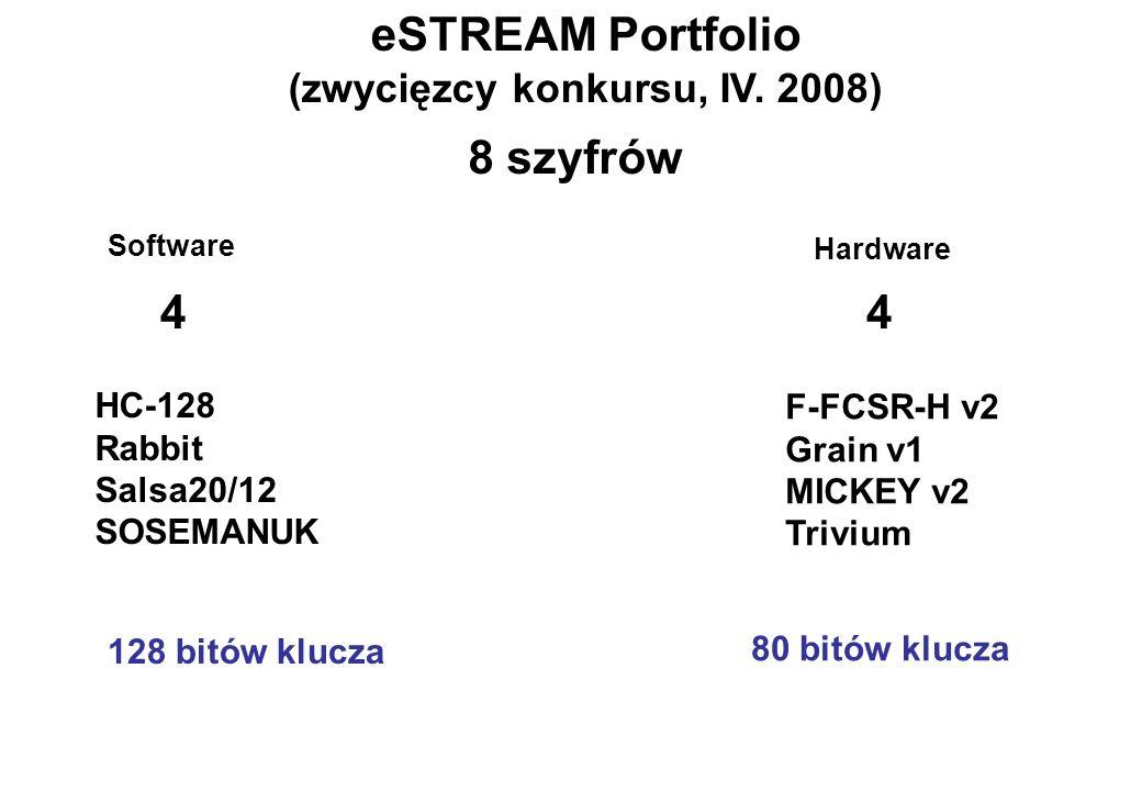 eSTREAM Portfolio (zwycięzcy konkursu, IV. 2008) HC-128 Rabbit Salsa20/12 SOSEMANUK F-FCSR-H v2 Grain v1 MICKEY v2 Trivium Software Hardware 44 8 szyf