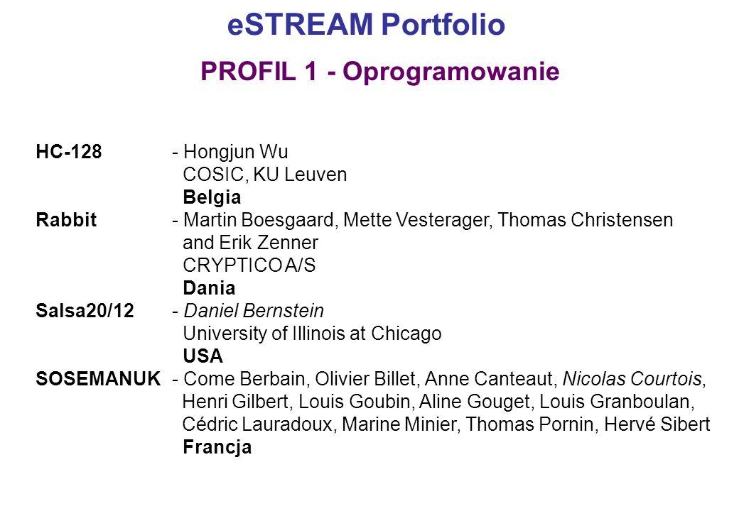 eSTREAM Portfolio HC-128 - Hongjun Wu COSIC, KU Leuven Belgia Rabbit- Martin Boesgaard, Mette Vesterager, Thomas Christensen and Erik Zenner CRYPTICO