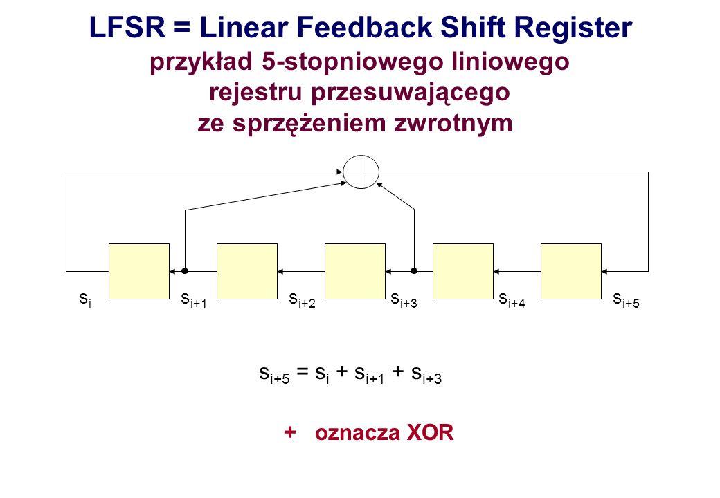LFSR = Linear Feedback Shift Register przykład 5-stopniowego liniowego rejestru przesuwającego ze sprzężeniem zwrotnym sisi s i+1 s i+2 s i+3 s i+4 s
