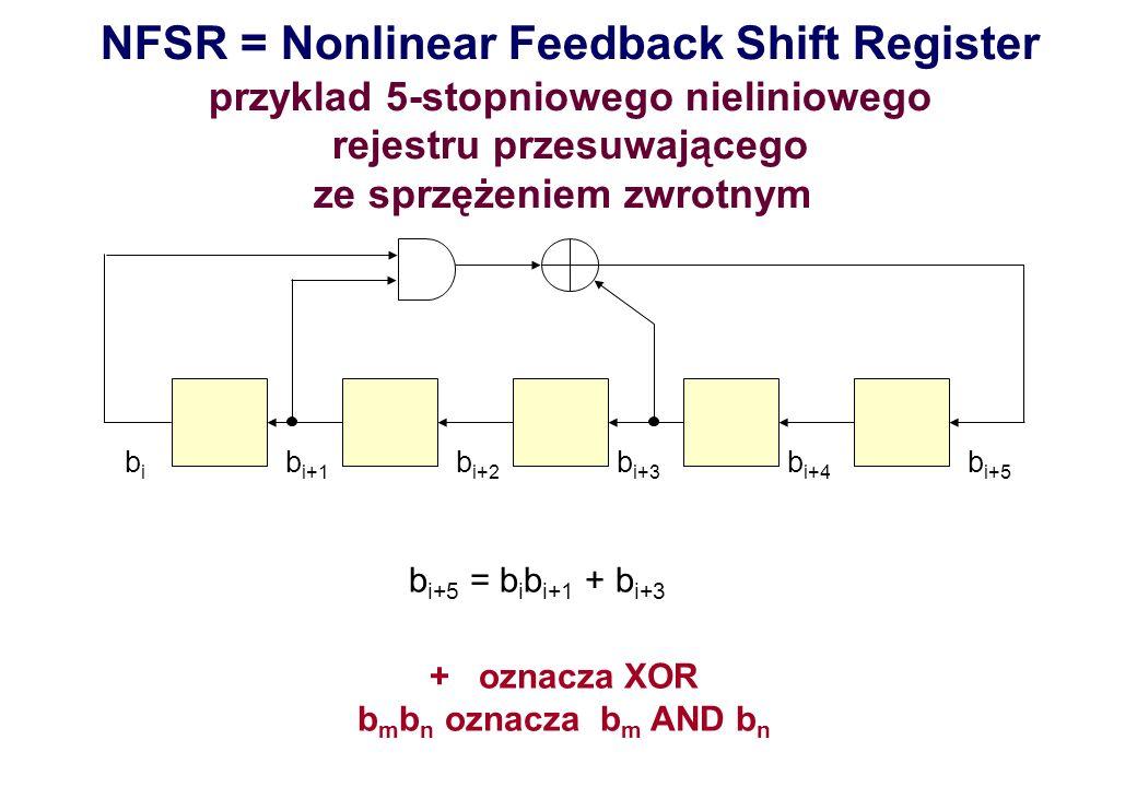bibi b i+1 b i+2 b i+3 b i+4 b i+5 b i+5 = b i b i+1 + b i+3 + oznacza XOR b m b n oznacza b m AND b n NFSR = Nonlinear Feedback Shift Register przykl