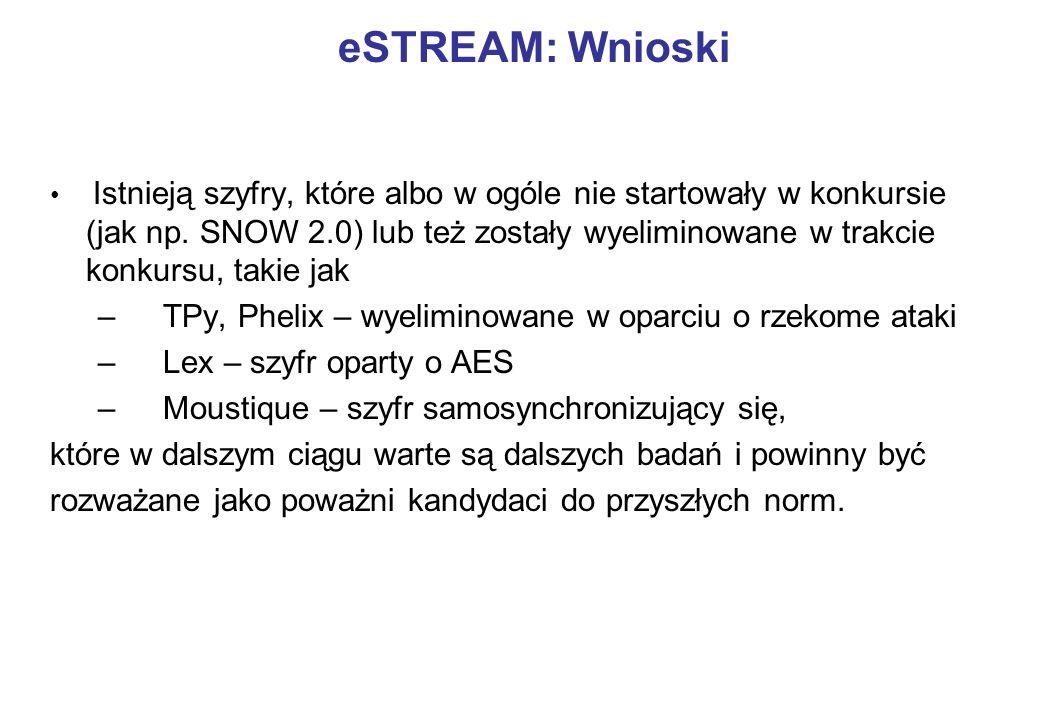 Istnieją szyfry, które albo w ogóle nie startowały w konkursie (jak np. SNOW 2.0) lub też zostały wyeliminowane w trakcie konkursu, takie jak – TPy, P