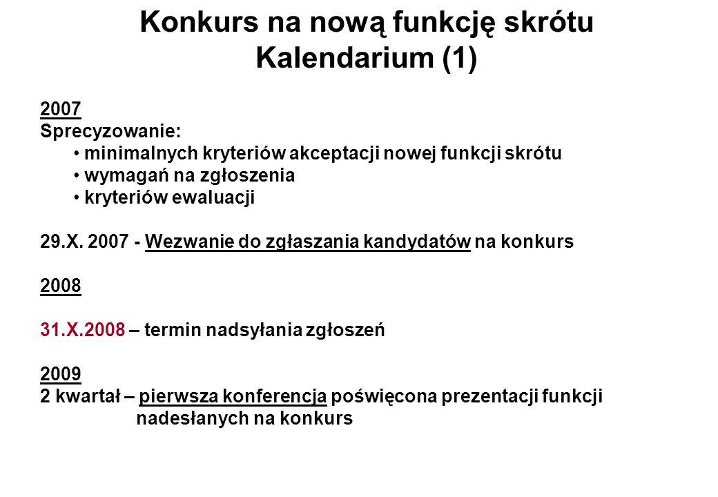 Konkurs na nową funkcję skrótu Kalendarium (1) 2007 Sprecyzowanie: minimalnych kryteriów akceptacji nowej funkcji skrótu wymagań na zgłoszenia kryteri
