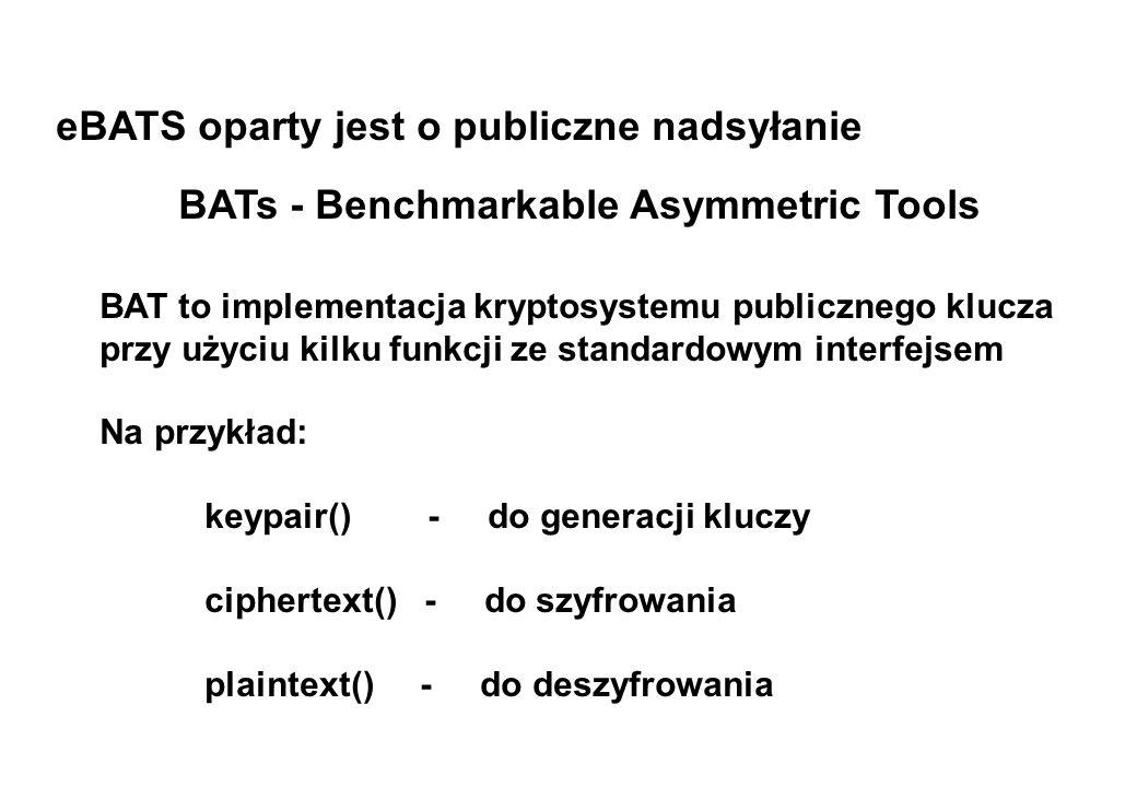 eBATS oparty jest o publiczne nadsyłanie BATs - Benchmarkable Asymmetric Tools BAT to implementacja kryptosystemu publicznego klucza przy użyciu kilku
