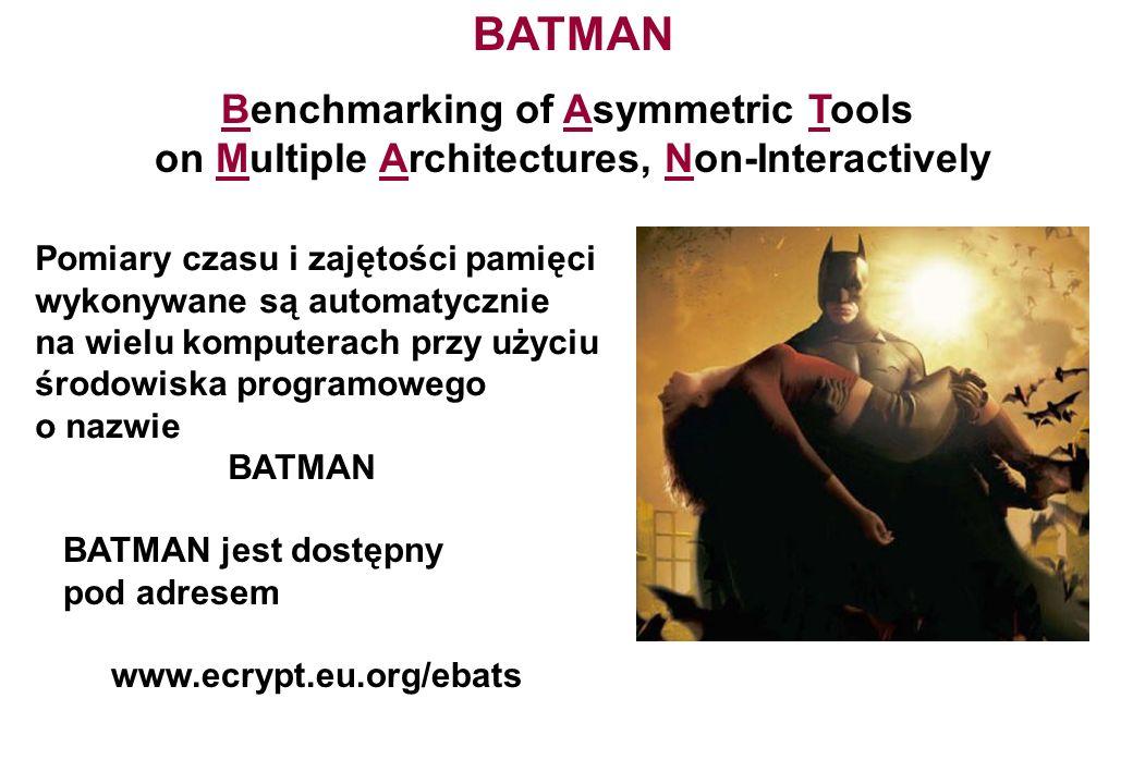 Benchmarking of Asymmetric Tools on Multiple Architectures, Non-Interactively BATMAN Pomiary czasu i zajętości pamięci wykonywane są automatycznie na