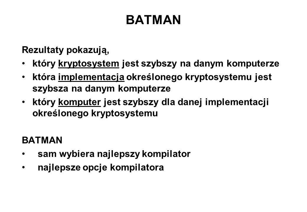 BATMAN Rezultaty pokazują, który kryptosystem jest szybszy na danym komputerze która implementacja określonego kryptosystemu jest szybsza na danym kom