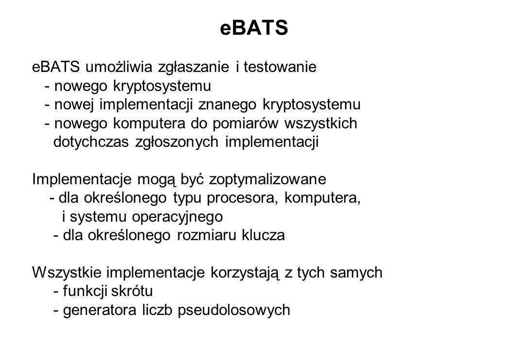 eBATS eBATS umożliwia zgłaszanie i testowanie - nowego kryptosystemu - nowej implementacji znanego kryptosystemu - nowego komputera do pomiarów wszyst
