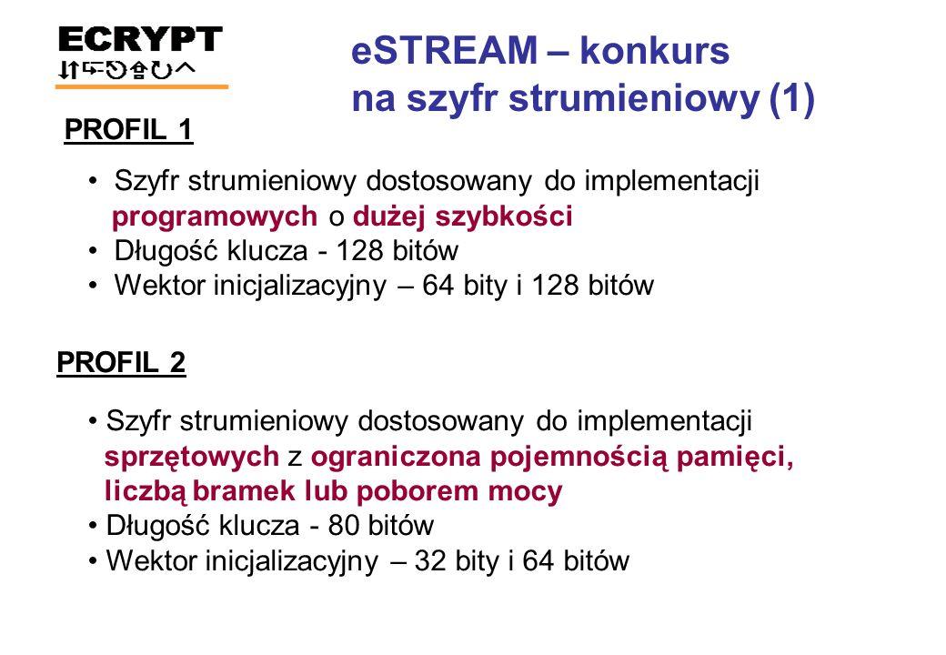 KandydatPowierzchnia (CLB slices) KandydatSzybkość/Powierzchnia (Mbps/slices) Grain v144Trivium (x64)39.26 Grain 12850Grain 128 (x32)7.97 Trivium50Grain v1 (x16)5.98 DECIM v280Trivium4.80 DECIM 12889F-FCSR-164.53 MICKEY 2.0115Grain v14.45 MICKEY 128 2.0176Grain 1283.92 Moustique278F-FCSR-H v23.23 F-FCSR-H v2342MICKEY 2.02.03 Trivium (x64)344MICKEY 128 2.01.27 Grain v1 (x16)348Moustique0.81 F-FCSR-16473DECIM v20.58 Grain 128 (x32)534DECIM 1280.49 Pomaranch648Edon800.10 Edon801284Pomaranch0.08 Porównanie kandydatów w profilu sprzętowym FPGA: Xilinx Spartan 3