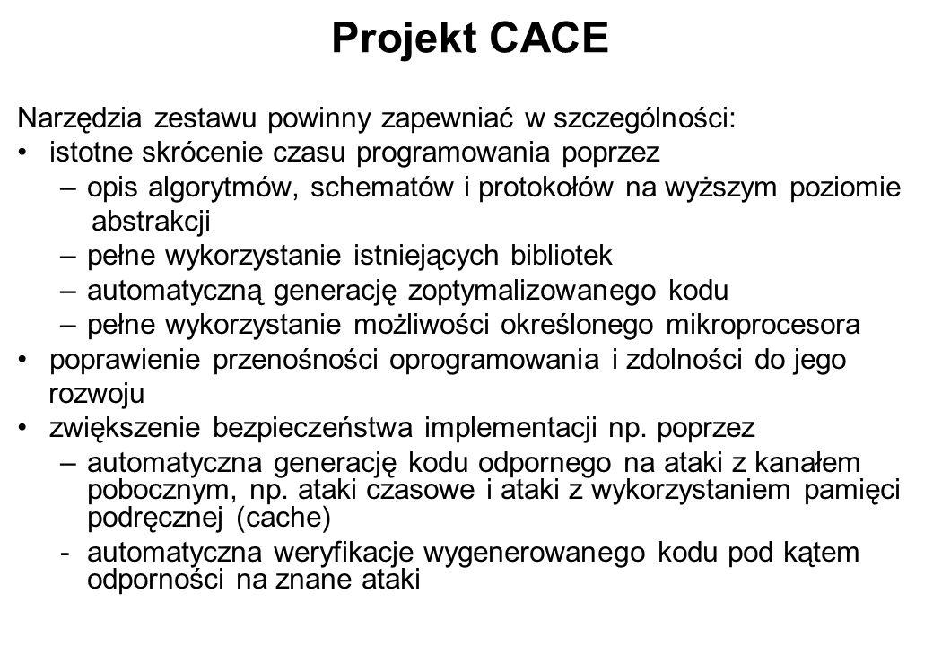 Projekt CACE Narzędzia zestawu powinny zapewniać w szczególności: istotne skrócenie czasu programowania poprzez –opis algorytmów, schematów i protokoł