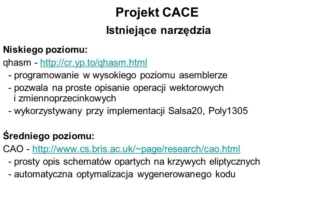 Projekt CACE Niskiego poziomu: qhasm - http://cr.yp.to/qhasm.htmlhttp://cr.yp.to/qhasm.html - programowanie w wysokiego poziomu asemblerze - pozwala n