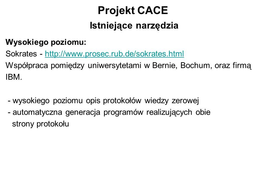 Projekt CACE Wysokiego poziomu: Sokrates - http://www.prosec.rub.de/sokrates.htmlhttp://www.prosec.rub.de/sokrates.html Współpraca pomiędzy uniwersyte