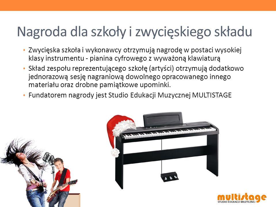 Nagroda dla szkoły i zwycięskiego składu Zwycięska szkoła i wykonawcy otrzymują nagrodę w postaci wysokiej klasy instrumentu - pianina cyfrowego z wyw