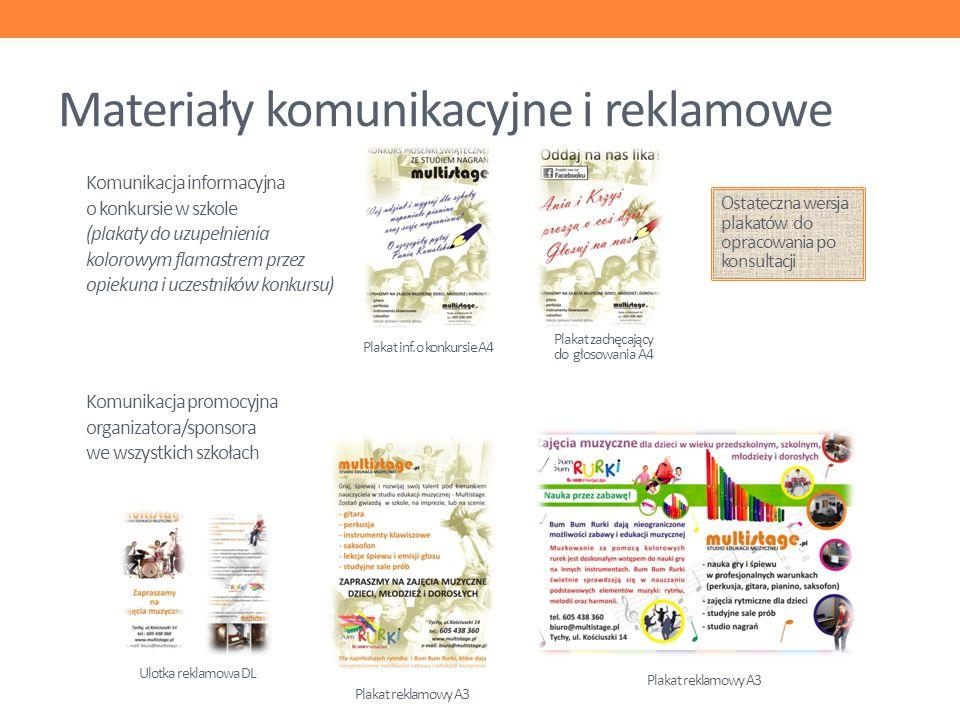 Materiały komunikacyjne i reklamowe Plakat reklamowy A3 Ulotka reklamowa DL Plakat inf. o konkursie A4 Plakat zachęcający do głosowania A4 Komunikacja
