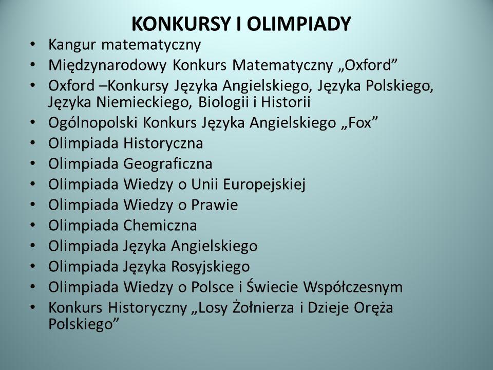 KONKURSY I OLIMPIADY Kangur matematyczny Międzynarodowy Konkurs Matematyczny Oxford Oxford –Konkursy Języka Angielskiego, Języka Polskiego, Języka Nie