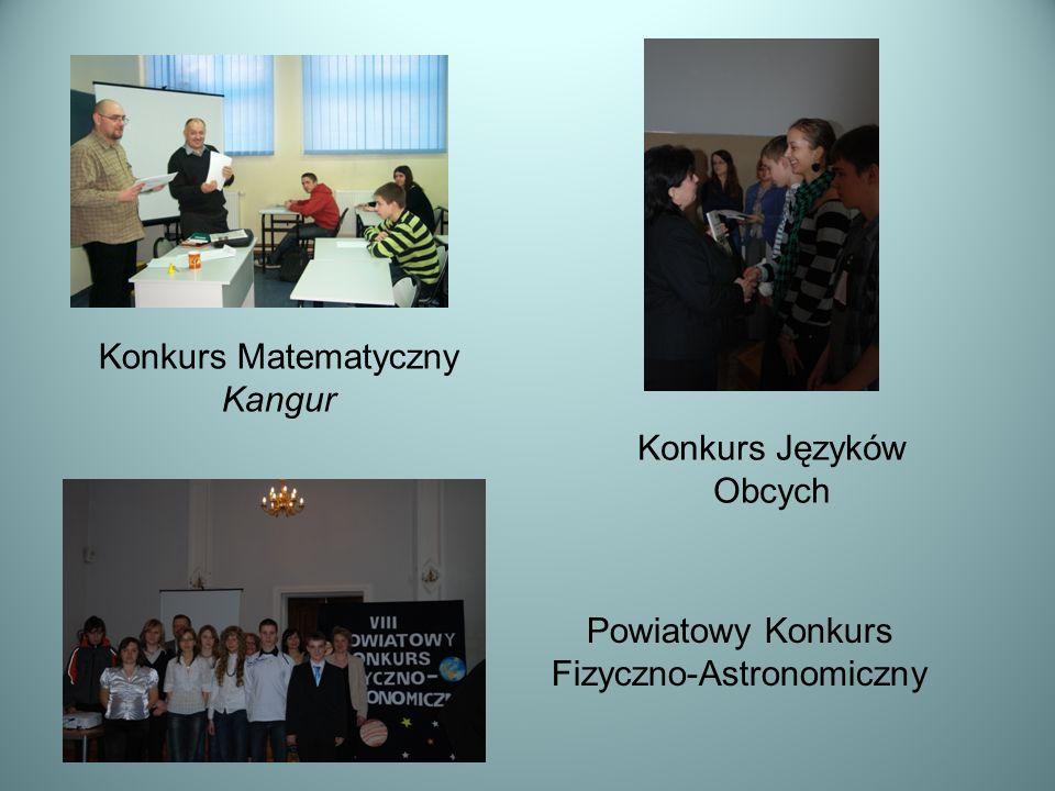 Powiatowy Konkurs Fizyczno-Astronomiczny Konkurs Matematyczny Kangur Konkurs Języków Obcych