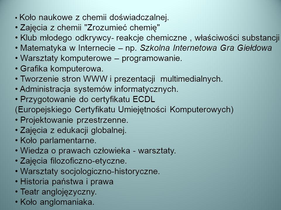 Koło naukowe z chemii doświadczalnej. Zajęcia z chemii