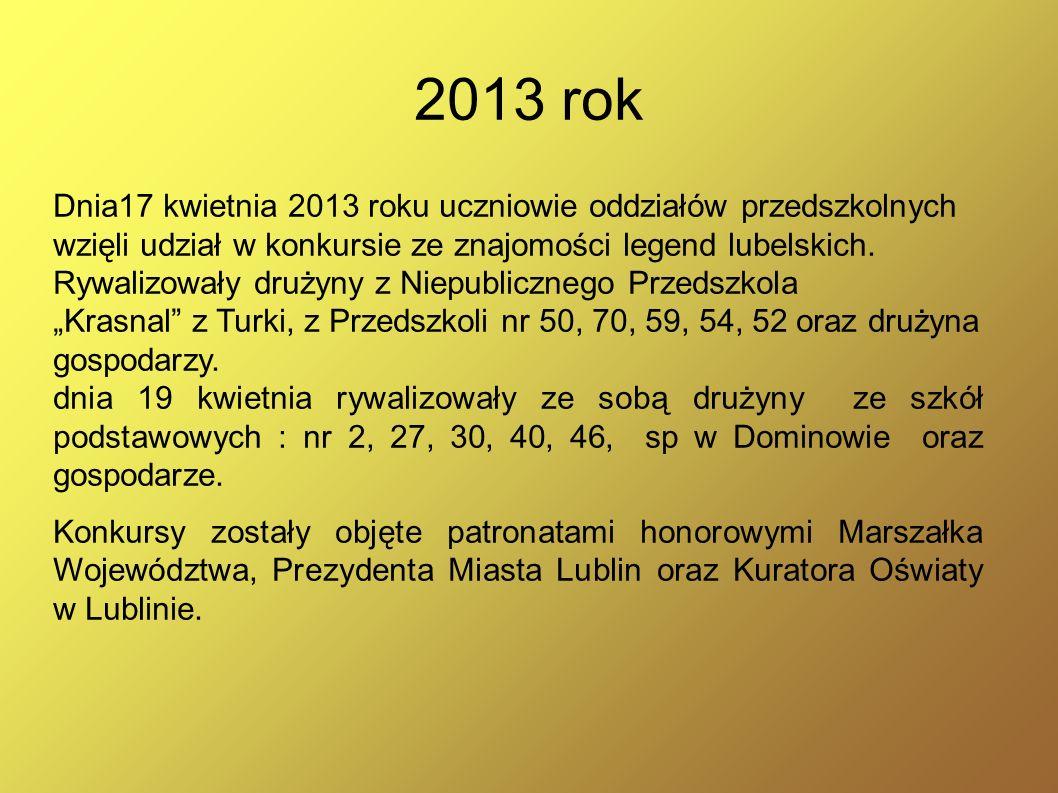 2013 rok Dnia17 kwietnia 2013 roku uczniowie oddziałów przedszkolnych wzięli udział w konkursie ze znajomości legend lubelskich. Rywalizowały drużyny
