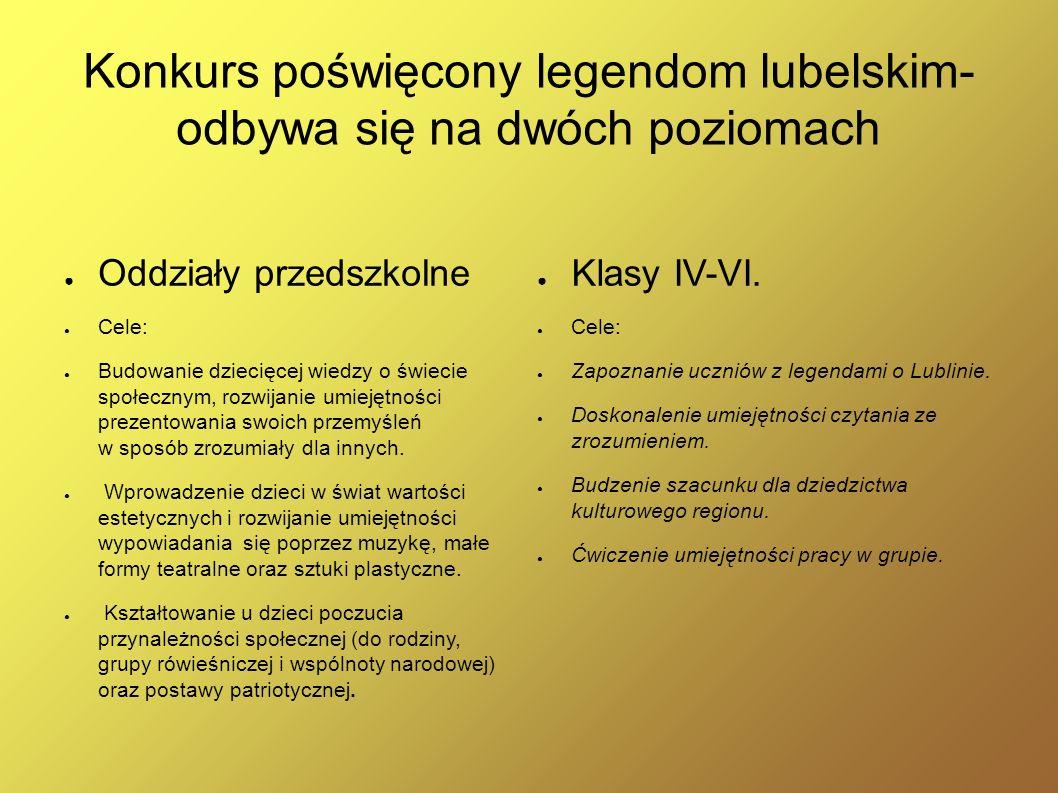 Konkurs poświęcony legendom lubelskim- odbywa się na dwóch poziomach Oddziały przedszkolne Cele: Budowanie dziecięcej wiedzy o świecie społecznym, roz