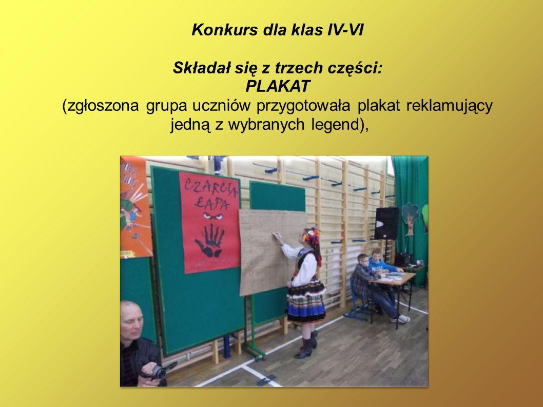 Konkurs dla klas IV-VI Składał się z trzech części: PLAKAT (zgłoszona grupa uczniów przygotowała plakat reklamujący jedną z wybranych legend),