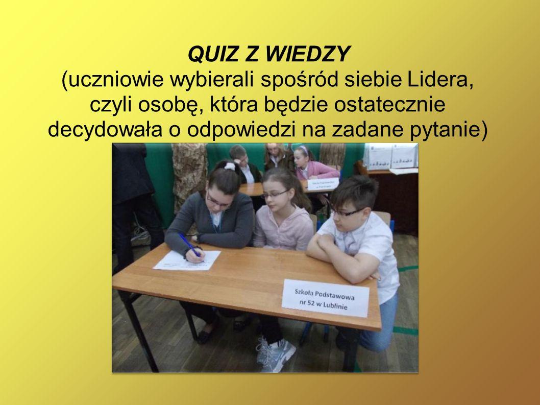 QUIZ Z WIEDZY (uczniowie wybierali spośród siebie Lidera, czyli osobę, która będzie ostatecznie decydowała o odpowiedzi na zadane pytanie)