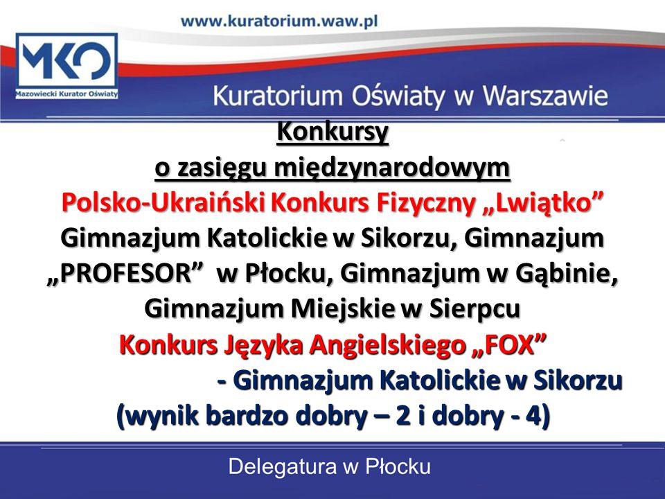 Konkursy o zasięgu międzynarodowym Polsko-Ukraiński Konkurs Fizyczny Lwiątko Gimnazjum Katolickie w Sikorzu, Gimnazjum PROFESOR w Płocku, Gimnazjum w Gąbinie, Gimnazjum Miejskie w Sierpcu Konkurs Języka Angielskiego FOX - Gimnazjum Katolickie w Sikorzu (wynik bardzo dobry – 2 i dobry - 4)