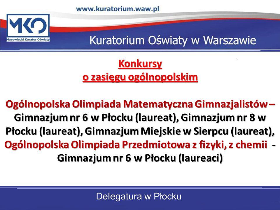 Konkursy o zasięgu ogólnopolskim Ogólnopolska Olimpiada Matematyczna Gimnazjalistów – Gimnazjum nr 6 w Płocku (laureat), Gimnazjum nr 8 w Płocku (laureat), Gimnazjum Miejskie w Sierpcu (laureat), Ogólnopolska Olimpiada Przedmiotowa z fizyki, z chemii - Gimnazjum nr 6 w Płocku (laureaci)