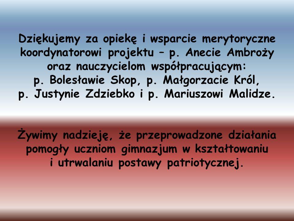 Dziękujemy za opiekę i wsparcie merytoryczne koordynatorowi projektu – p. Anecie Ambroży oraz nauczycielom współpracującym: p. Bolesławie Skop, p. Mał