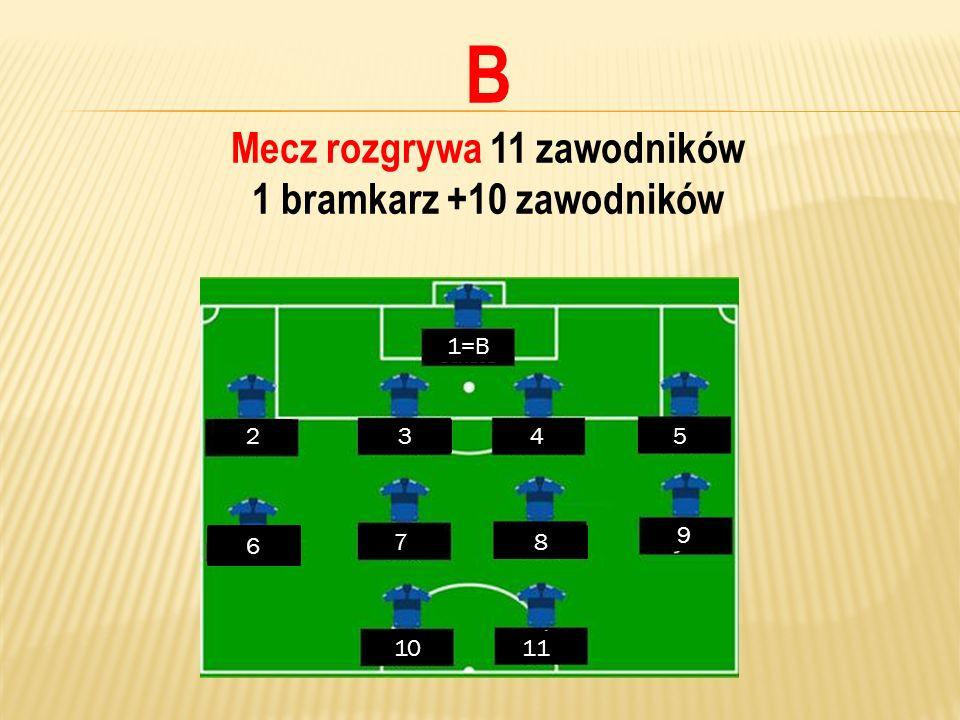 B Mecz rozgrywa 11 zawodników 1 bramkarz +10 zawodników 1=B 2345 6 78 9 1011