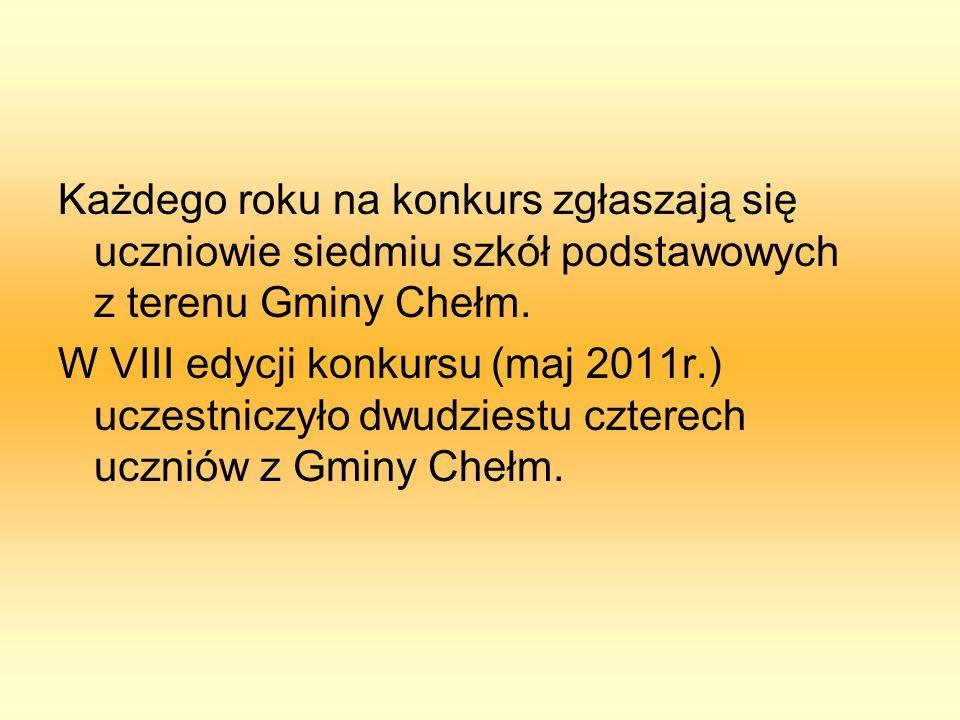 Każdego roku na konkurs zgłaszają się uczniowie siedmiu szkół podstawowych z terenu Gminy Chełm. W VIII edycji konkursu (maj 2011r.) uczestniczyło dwu