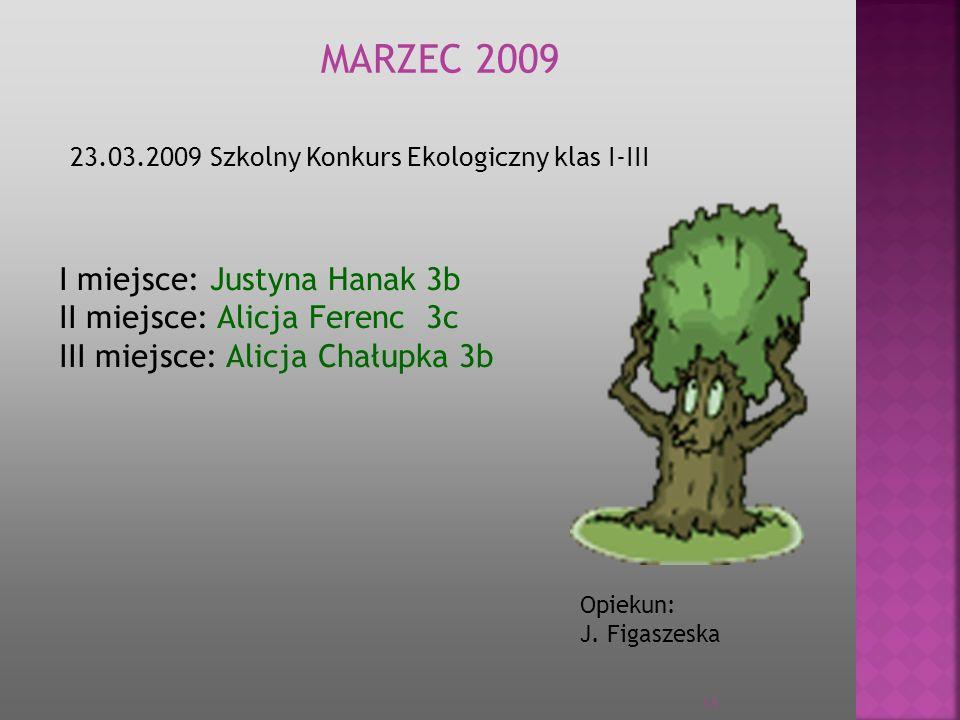 MARZEC 2009 23.03.2009 Szkolny Konkurs Ekologiczny klas I-III I miejsce: Justyna Hanak 3b II miejsce: Alicja Ferenc 3c III miejsce: Alicja Chałupka 3b