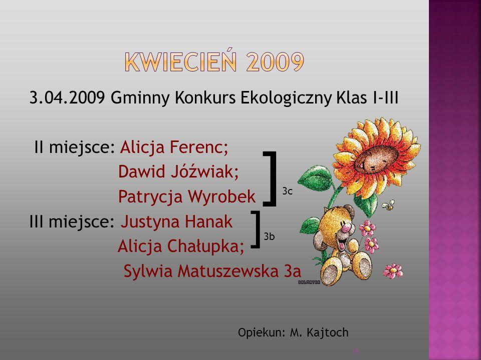 3.04.2009 Gminny Konkurs Ekologiczny Klas I-III II miejsce: Alicja Ferenc; Dawid Jóźwiak; Patrycja Wyrobek III miejsce: Justyna Hanak Alicja Chałupka;