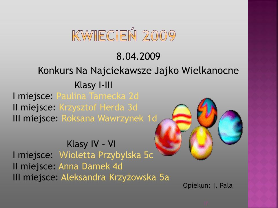 8.04.2009 Konkurs Na Najciekawsze Jajko Wielkanocne Klasy I-III I miejsce: Paulina Tarnecka 2d II miejsce: Krzysztof Herda 3d III miejsce: Roksana Waw