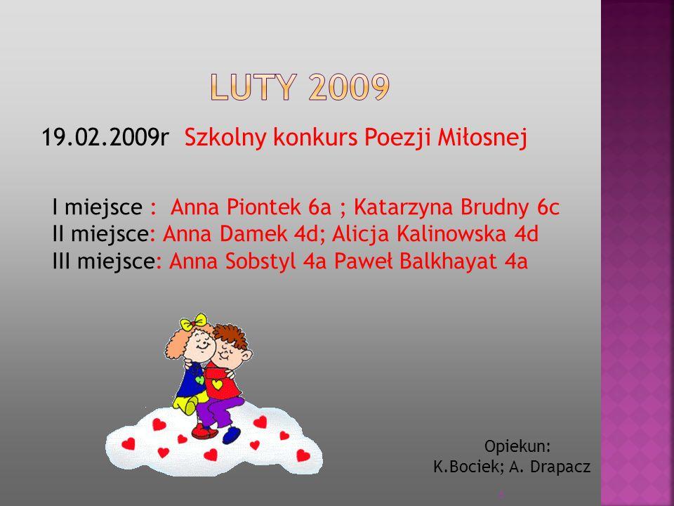 29.04 2009 Powiatowy Konkurs Młode Fafloki Wyróżnienie: Anna Piontek 6a Opiekun: K.