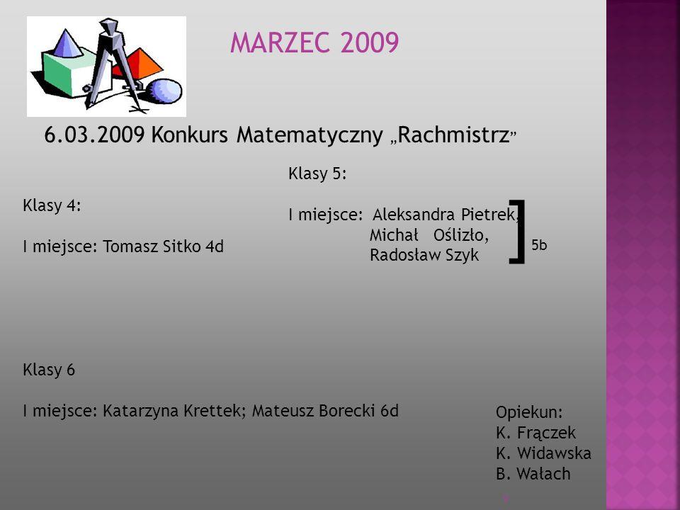28.05.2009 Regionalny Konkurs dla uczniów dyslektycznych MA J 2009 Opiekun : B.