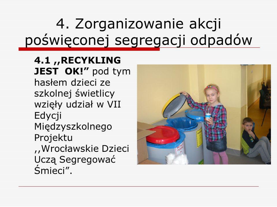 4. Zorganizowanie akcji poświęconej segregacji odpadów 4.1,,RECYKLING JEST OK! pod tym hasłem dzieci ze szkolnej świetlicy wzięły udział w VII Edycji