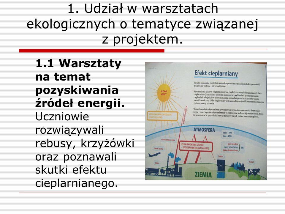 1. Udział w warsztatach ekologicznych o tematyce związanej z projektem. 1.1 Warsztaty na temat pozyskiwania źródeł energii. Uczniowie rozwiązywali reb
