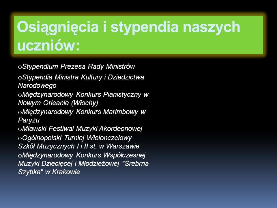 o Międzynarodowy Konkurs Muzyczny Perrenoud Foundation o Ogólnopolski Konkurs Duetów z Harfą w Cieszynie o Konkurs Młodych Kompozytorów im.