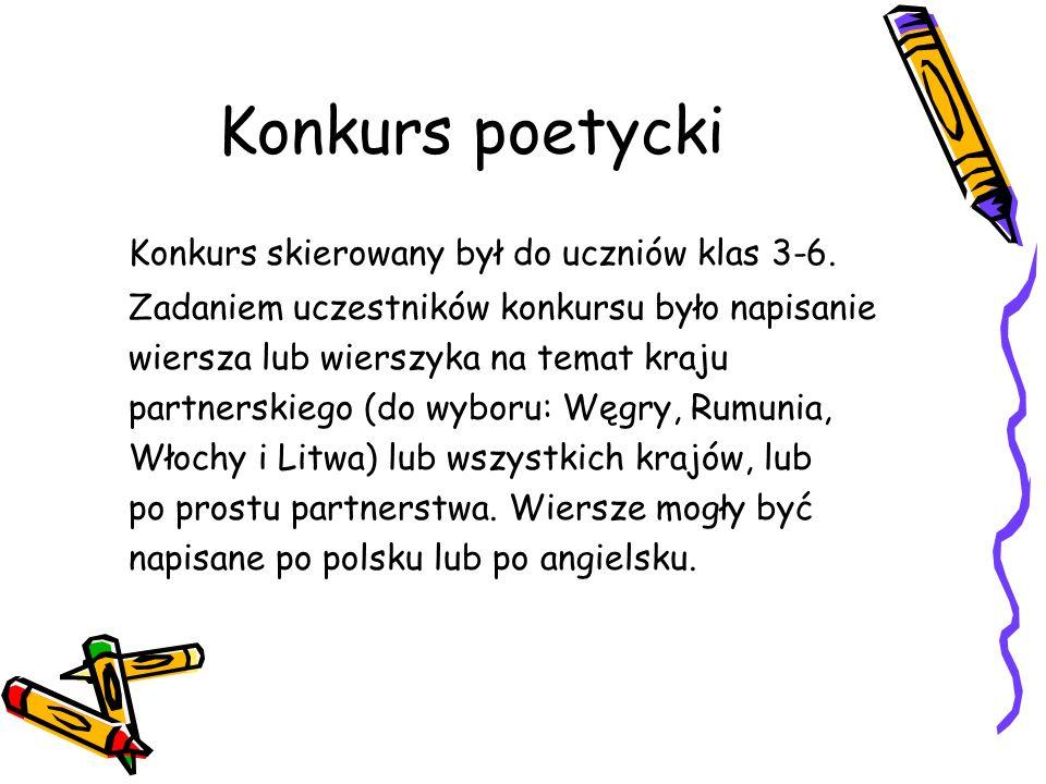 Konkurs poetycki Konkurs skierowany był do uczniów klas 3-6. Zadaniem uczestników konkursu było napisanie wiersza lub wierszyka na temat kraju partner