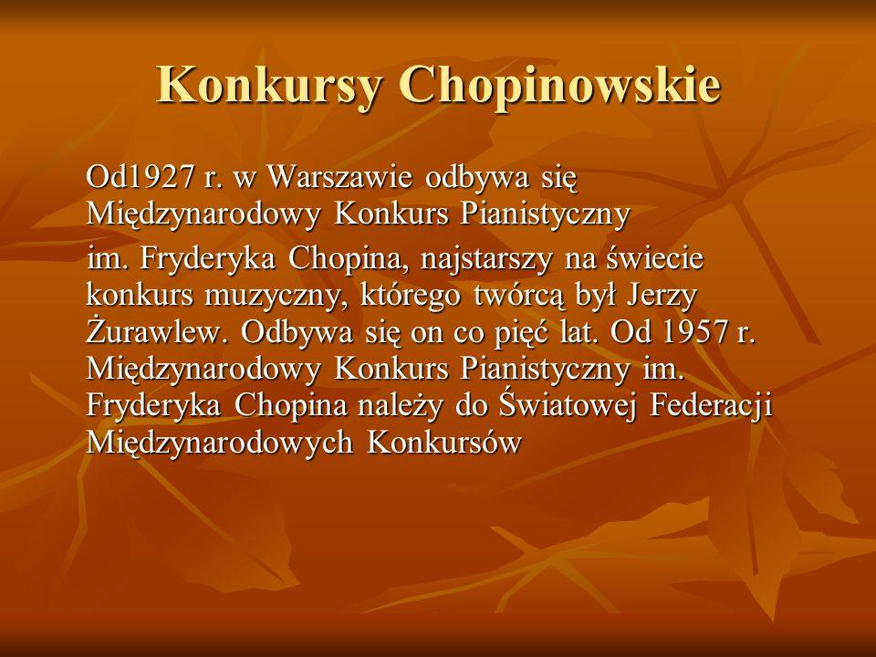 Konkursy Chopinowskie Od1927 r.w Warszawie odbywa się Międzynarodowy Konkurs Pianistyczny im.