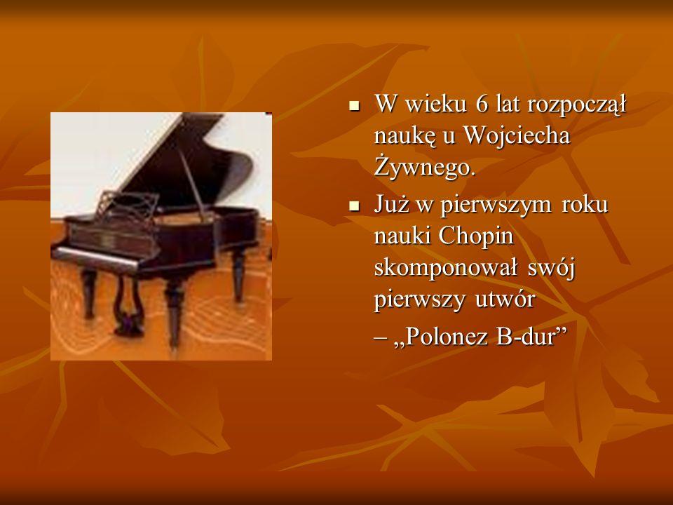 Pierwszy publiczny koncert Fryderyk dał w wieku 8 lat, czyli niespełna po dwóch latach nauki.