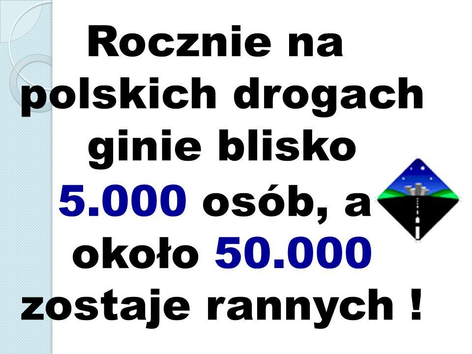 Rocznie na polskich drogach ginie blisko 5.000 osób, a około 50.000 zostaje rannych !