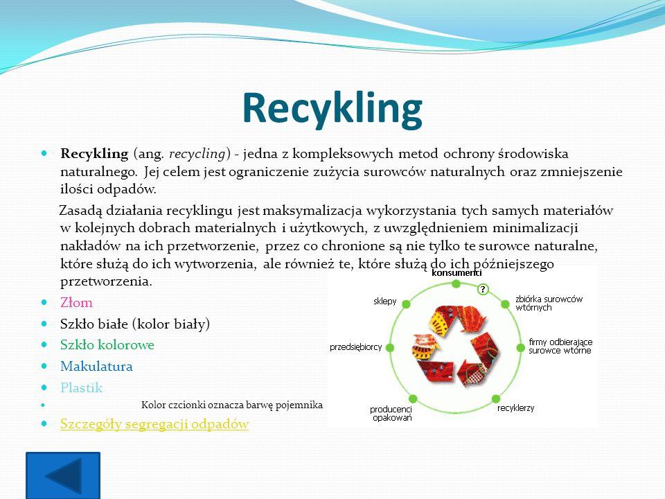 Recykling Recykling (ang. recycling) - jedna z kompleksowych metod ochrony środowiska naturalnego. Jej celem jest ograniczenie zużycia surowców natura