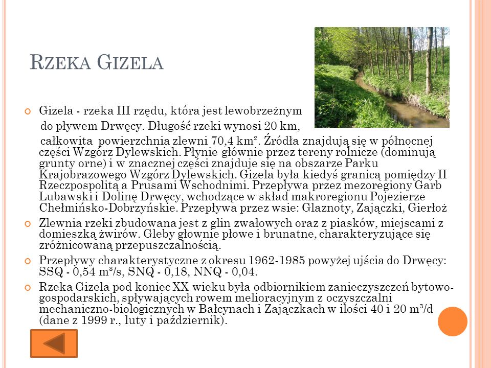 R ZEKA G IZELA Gizela - rzeka III rzędu, która jest lewobrzeżnym do pływem Drwęcy. Długość rzeki wynosi 20 km, całkowita powierzchnia zlewni 70,4 km².