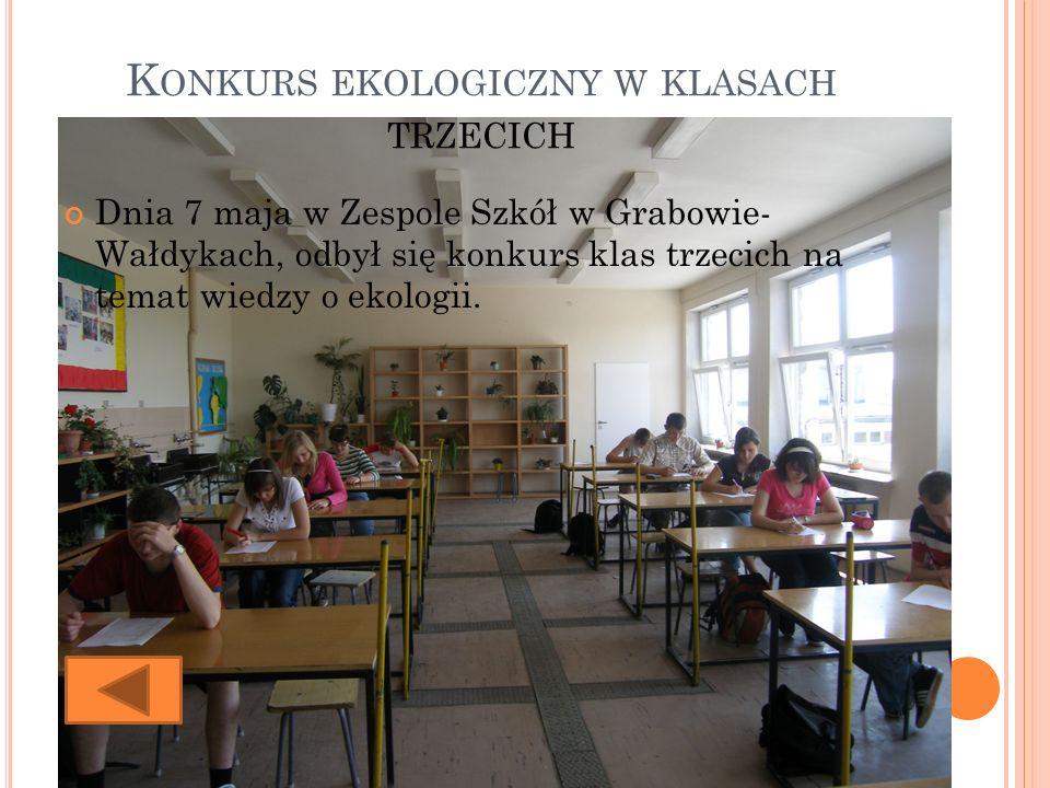 K ONKURS EKOLOGICZNY W KLASACH TRZECICH Dnia 7 maja w Zespole Szkół w Grabowie- Wałdykach, odbył się konkurs klas trzecich na temat wiedzy o ekologii.