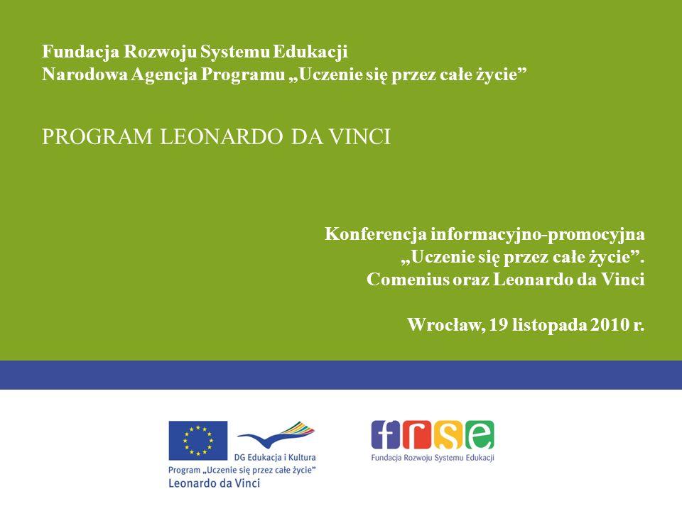 PROGRAM LEONARDO DA VINCI Konferencja informacyjno-promocyjna Uczenie się przez całe życie.