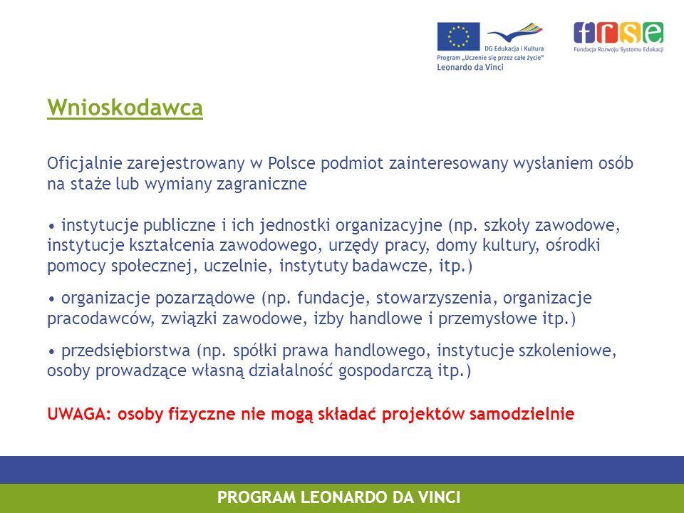 Wnioskodawca Oficjalnie zarejestrowany w Polsce podmiot zainteresowany wysłaniem osób na staże lub wymiany zagraniczne instytucje publiczne i ich jednostki organizacyjne (np.