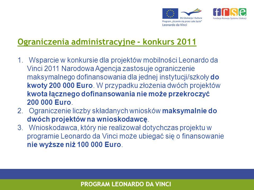 PROGRAM LEONARDO DA VINCI Ograniczenia administracyjne - konkurs 2011 1. Wsparcie w konkursie dla projektów mobilności Leonardo da Vinci 2011 Narodowa