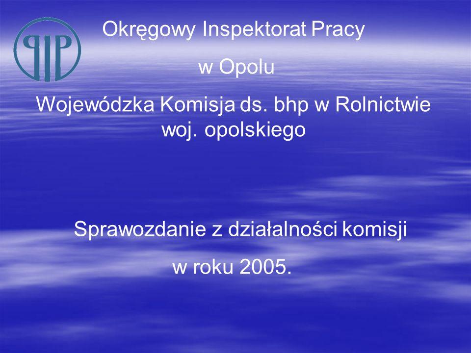 Sprawozdanie z działalności komisji w roku 2005. Okręgowy Inspektorat Pracy w Opolu Wojewódzka Komisja ds. bhp w Rolnictwie woj. opolskiego