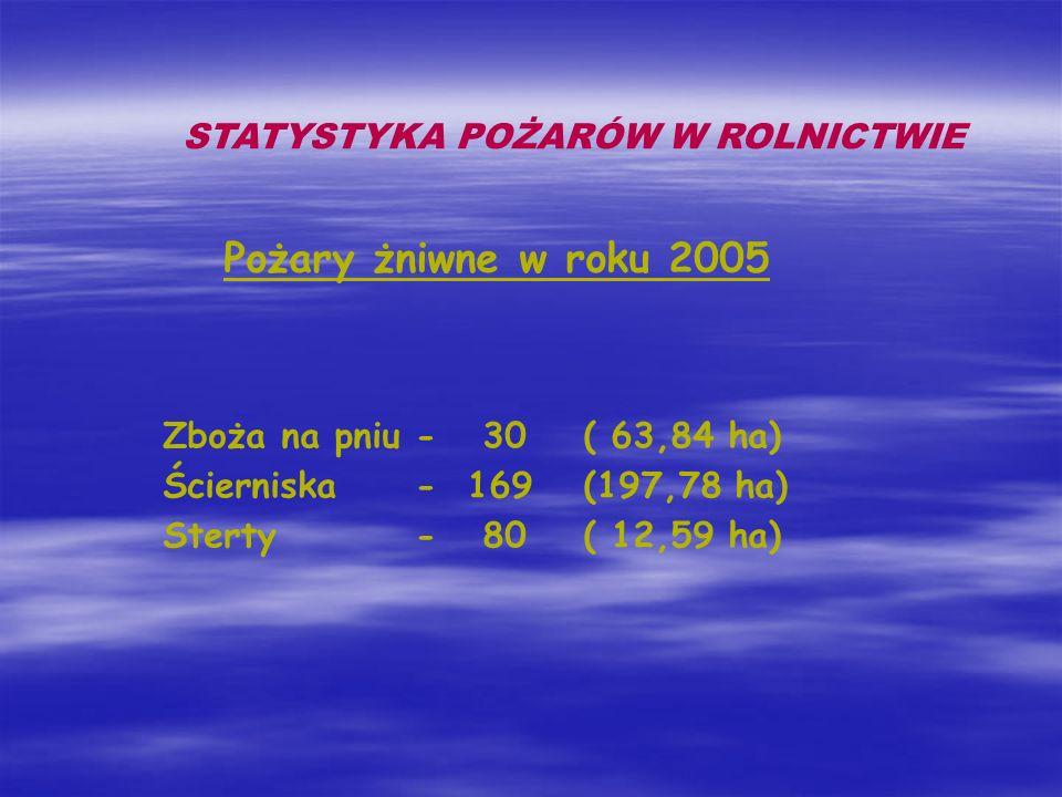 STATYSTYKA POŻARÓW W ROLNICTWIE Pożary żniwne w roku 2005 Zboża na pniu- 30( 63,84 ha) Ścierniska- 169(197,78 ha) Sterty- 80( 12,59 ha)