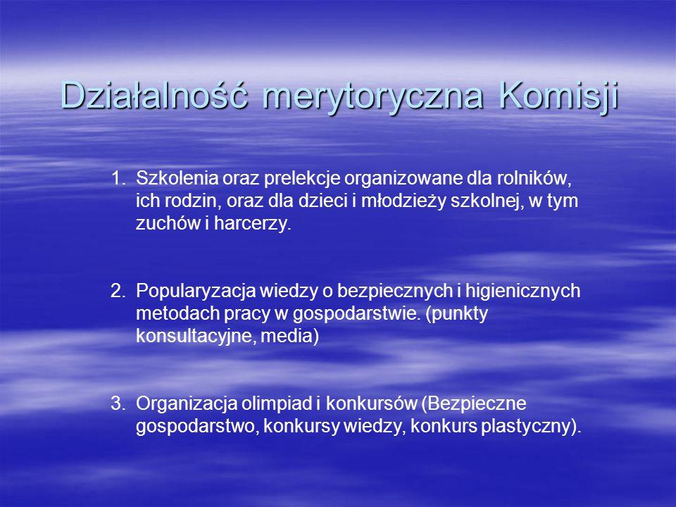 Działalność merytoryczna Komisji 1.Szkolenia oraz prelekcje organizowane dla rolników, ich rodzin, oraz dla dzieci i młodzieży szkolnej, w tym zuchów
